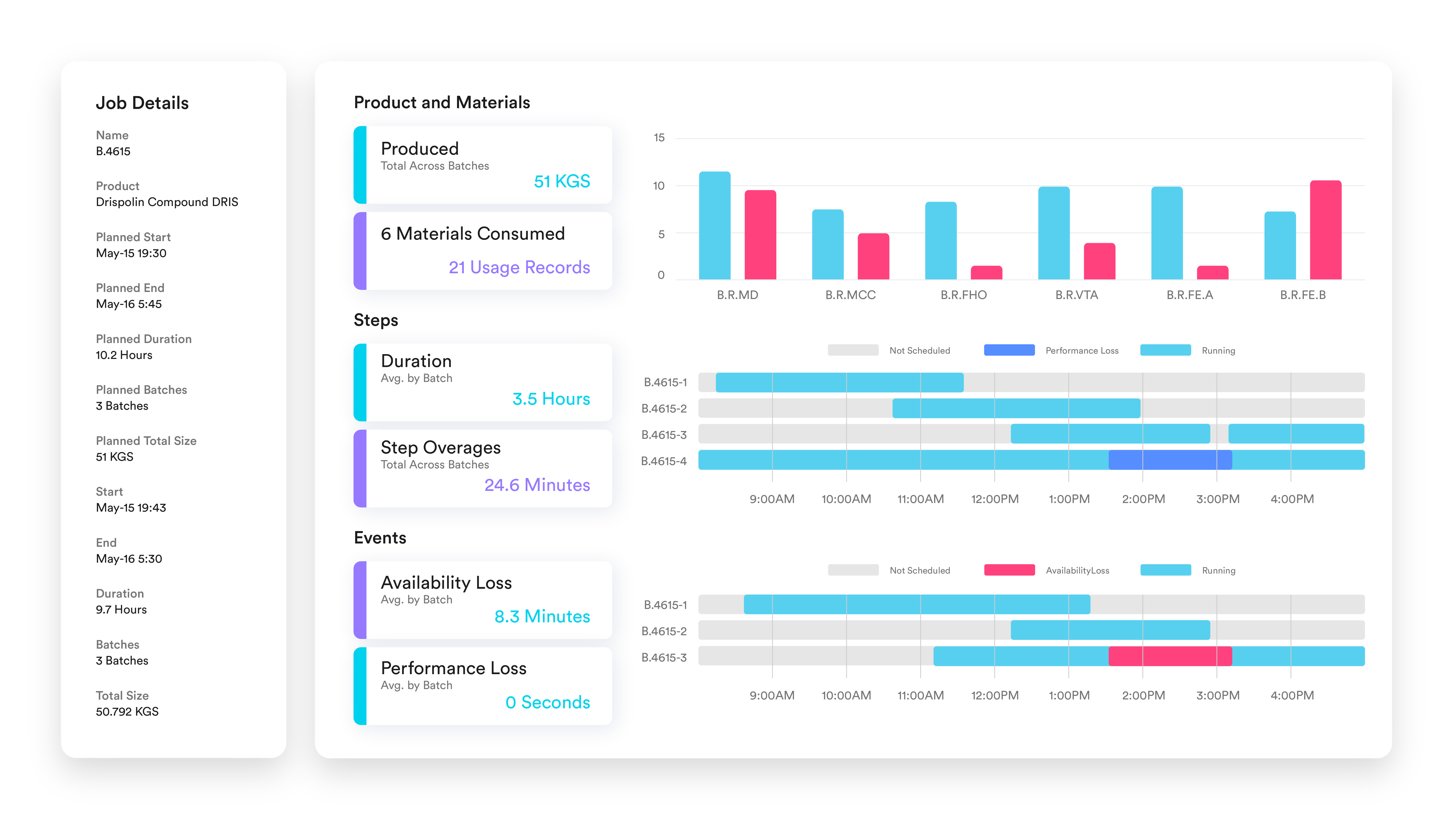 Metrics and Reporting Software Screen for Batch